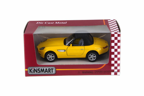 BMW Z8 Soft Top & Open Top Convertible, Yellow - Kinsmart 5022/2WYL - 1/36 Scale Diecast Model Toy Car