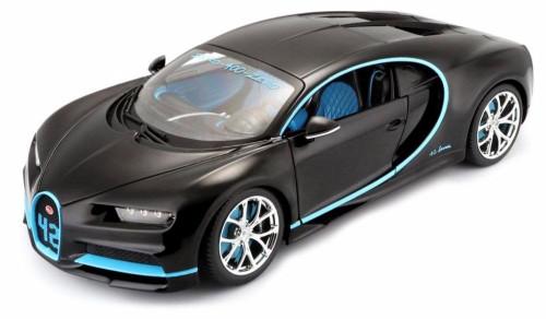 Bugatti Chiron, Black w/blue accents - Bburago 18-11040BK42 - 1/18 Scale Diecast Model Toy Car