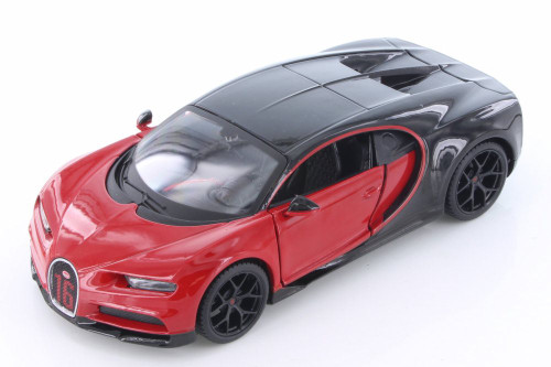 Bugatti Chiron Hard Top, Red with Black - Maisto 31524R - 1/24 Scale Diecast Model Toy Car