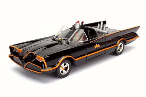 1966 Classic TV Series Batmobile w/ Batman & Robin Figures, JADA 98259 - 1/24 Scale Diecast Model Set