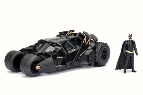 2008 The Dark Knight Batmobile w/ Batman Figure, Black - Jada 98261W - 1/24 Scale Diecast Model Toy Car