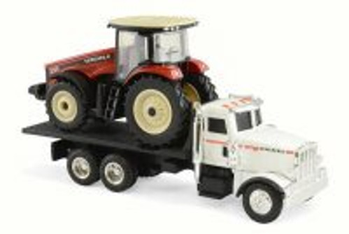 290 MFWD Tractor on Peterbilt 367 Dealership Truck, Red & White - Tomy 16247 - 1/64 Scale Diecast Model Toy Car