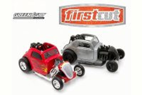 Topo Fuel Altered Drag Car 2-Piece Set, Red & Bare Metal - Greenlight 29848 - 1/64 Scale Diecast Model Toy Car