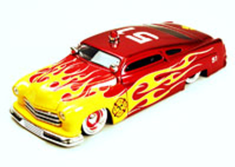 1951 Mercury Fire Dept. Car #51, Red w/Flames - Jada Toys Heat 92455 - 1/24 scale Diecast Model Toy Car (Brand New, but NOT IN BOX)