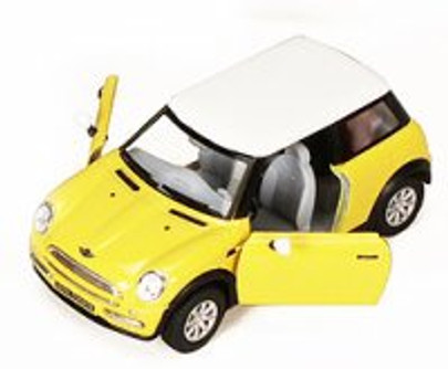 New Mini Cooper, Yellow - Kinsmart 5042D - 1/28 scale Diecast Model Toy Car (Brand New, but NOT IN BOX)