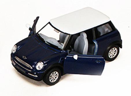 New Mini Cooper, Blue - Kinsmart 5042D - 1/28 scale Diecast Model Toy Car
