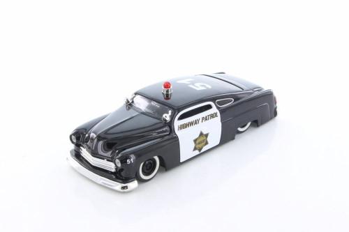 1951 Mercury Police Car, Black & White - Jada 92455 - 1/24 Scale Diecast Model Toy Car