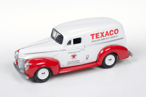 1940 Texaco Ford Delivery Van, White w/Red - Round 2 JLTX001 - 1/64 Scale Diecast Model Toy Car