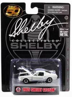 1965 Ford Mustang Shelby GT350R, White with Blue Stripes - Shelby SC16403M - 1/64 scale Diecast Model Toy Car
