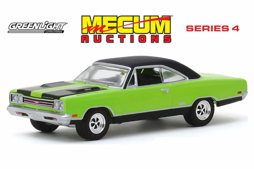 1969 Plymouth HEMI GTX, Lime Green and Black - Greenlight 37190C/48 - 1/64 scale Diecast Model Toy Car