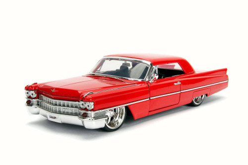 1963 Cadillac, Red - JADA 99552DP1 - 1/24 Scale Diecast Model Toy Car