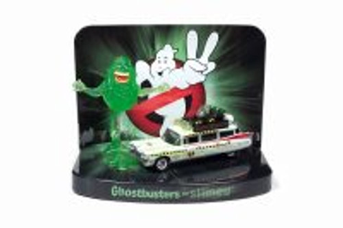 1958 Cadillac Ecto 1A (Slimed Version) with Slimer Figure, Ghostbusters Silver Screen Series Façade Diorama - Round 2 JLDR010/24 - 1/64 scale Diecast Model Toy Car