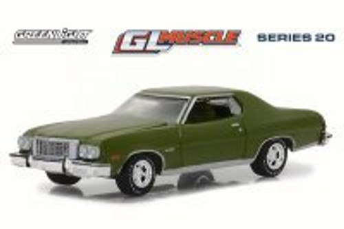 1976 Ford Gran Torino Hard Top, Dark Green Metallic - Greenlight 13210D/48 - 1/64 Scale Diecast Model Toy Car