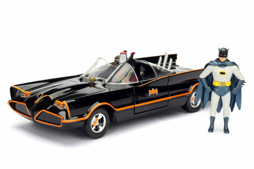 Batmobile Buildable Diecast Kit with Batman and Robin Figures, 1966 Classic TV Series Batman - Jada 30873 - 1/24 Scale Diecast Model Toy Car