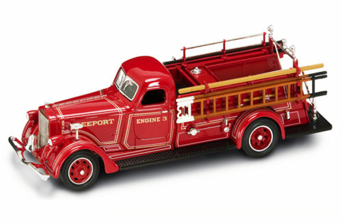 1939 American LaFrance B-550RC Fire Engine Freeport, Red - Yatming 43007 - 1/43 Scale Diecast Model Toy Car