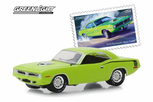 1970 Plymouth HEMI Cuda, United States Postal Service (USPS®) 2013 Stamps - Greenlight 30069/48 - 1/64 scale Diecast Model Toy Car
