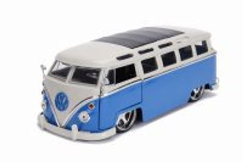 1962 Volkswagen Bus, Blue with White - Jada 99023 - 1/24 scale Diecast Model Toy Car
