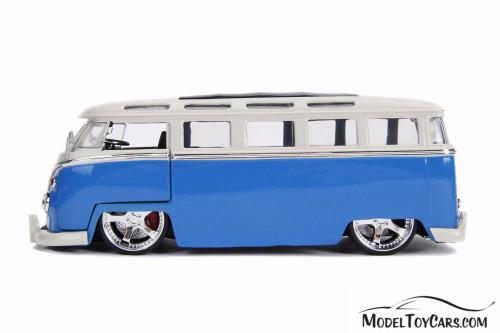1962 Volkswagen Bus, Blue with White - Jada 99055DP1 - 1/24 scale Diecast Model Toy Car