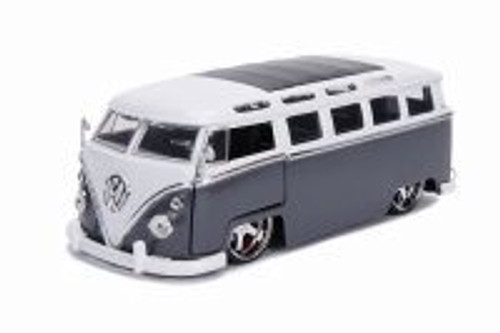 1962 Volkswagen Bus, Gray with White - Jada 99024 - 1/24 scale Diecast Model Toy Car