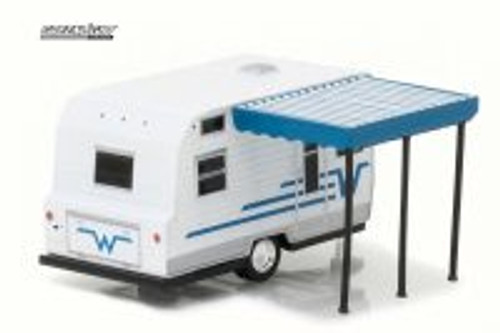 1964 Winnebago 216 Travel Trailer, White/Blue - Greenlight 34020C - 1/64 Scale Diecast Model Toy Car
