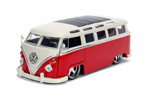 1962 Volkswagen Bus, Red with White - Jada 99055DP1 - 1/24 scale Diecast Model Toy Car