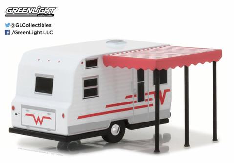 1965 Winnebago 216 Travel Trailer, White w/ Red - Greenlight 34030C - 1/64 Scale Diecast Model Toy Car