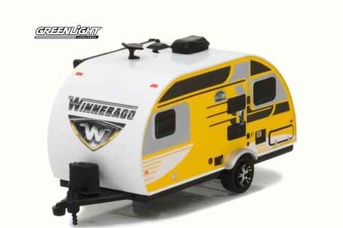 2016 Winnebago Winnie Drop 1710 Travel Trailer, Yellow Panels - Greenlight 34010 - 1/64 Scale Diecast Model Toy Car