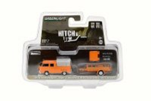 1978 Volkswagen Type 2 Double Cab Pickup with Canopy and Utility Trailer, Orange - Greenlight 32110A - 1/64 Scale Diecast Model Toy Car