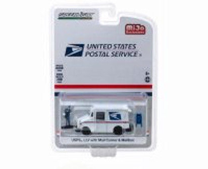 USPS LLV with Mail Carrier and Mailbox, White - Greenlight 51280 - 1/64 scale Diecast Model Toy Car