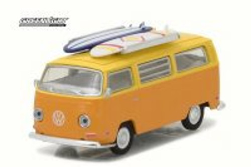 1971 Volkswagen Type 2 T2 Van w/ Surf Boards, Orange w/Yellow - Greenlight 29893 - 1/64 Scale Diecast Model Toy Car