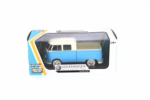 1967 Volkswagen Type 2 Pickup Truck, 2-tone Blue & Cream - Motor Max 79343CRMLTBL - 1/24 Scale Diecast Model Toy Car