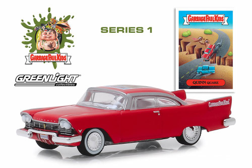 1957 Plymouth Belvedere, Garbage Pail Kids- Quinn Quake - Greenlight 54010A/48 - 1/64 scale Diecast Model Toy Car