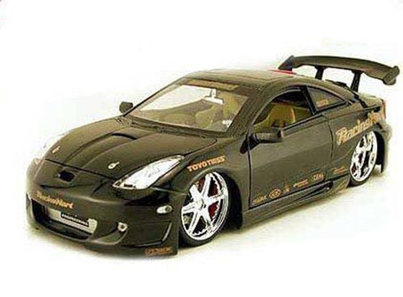 Toyota Celica, Black - Jada Toys Import Racer! 63184 - 1/18 scale Diecast Model Toy Car