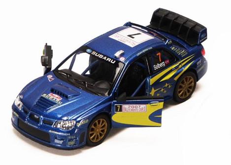 2007 Subaru Impreza WRC #7, Blue - Kinsmart 5328D - 1/36 scale Diecast Model Toy Car (Brand New, but NOT IN BOX)
