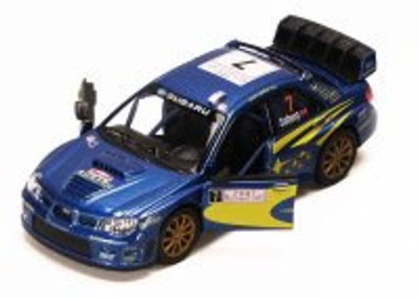 2007 Subaru Impreza WRC #7, Blue - Kinsmart 5328D - 1/36 scale Diecast Model Toy Car (Brand New, but NOT IN BOX)