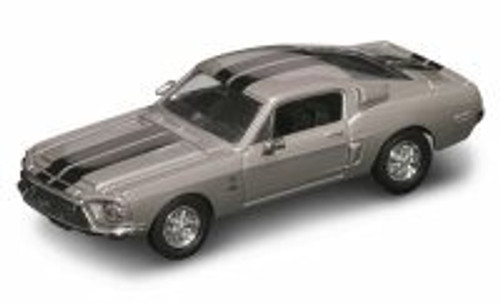 1968 Shelby GT 500-KR, Silver w/ Stripes - Yatming 94214 - 1/43 Scale Diecast Model Toy Car