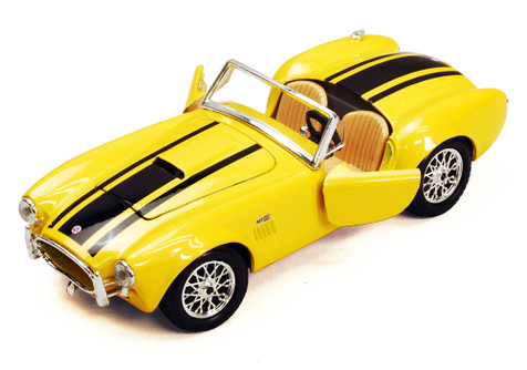 1965 Shelby Cobra 427 Convertible, Yellow - Maisto 34276 - 1/24 Scale Diecast Model Toy Car (Brand New, but NOT IN BOX)
