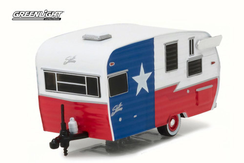 """2016 Shasta 15"""" Airflyte, Red/White/Blue - Greenlight 34020F - 1/64 Scale Diecast Model Toy Car"""