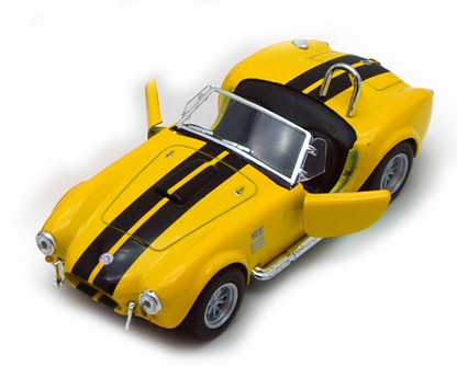 1965 Shelby Cobra 427 S/C Convertible, Yellow - Kinsmart 5322/4D - 1/32 scale Diecast Model Toy Car (Brand New, but NOT IN BOX)