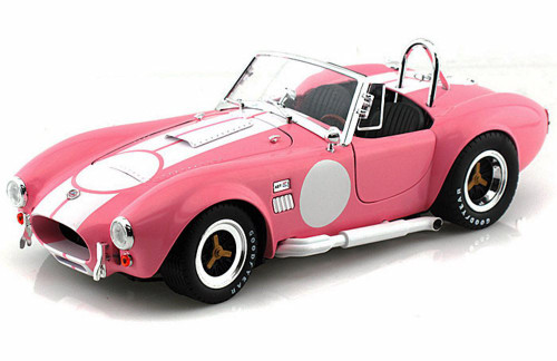 1965 Shelby Cobra 427 S/C Convertible, Pink w/ White Stripes - Shelby  SC114 - 1/18 Scale Diecast Model Toy Car