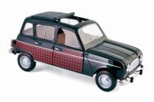 1964 Renault 4 Parisienne Hard Top, Black & Red - Norev 185242 - 1/18 Scale Diecast Model Toy Car