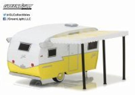 "Shasta 15"" Airflyte, Yellow w/ White - Greenlight 34030F - 1/64 Scale Diecast Model Toy Car"