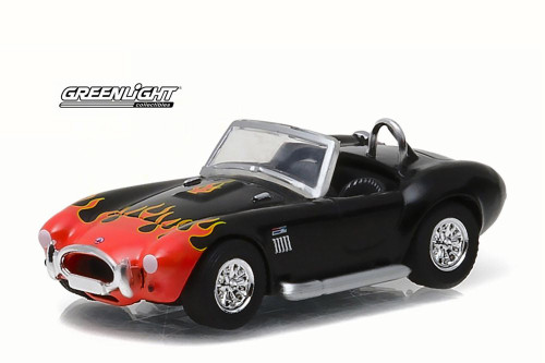 1965 Shelby Cobra 427 S/C, Black w/ Orange Flames - Greenlight 96170C - 1/64 Scale Diecast Model Toy Car