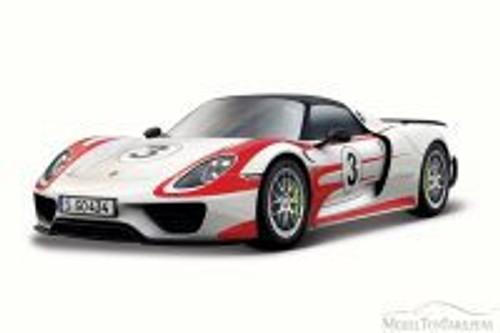 Porsche 918 Weissach Race Car #3, White - Bburago 28009 - 1/24 Scale Diecast Model Toy Car