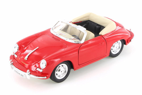 Porsche 356B Convertible, Red - Welly 29390WR - 1/24 Scale Diecast Model Toy Car