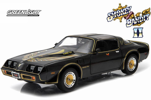 Smokey & The Bandit II 1980 Pontiac Trans AM T-Top, Black with Gold - Greenlight 12944 - 1/18 Scale Diecast Model Toy Car