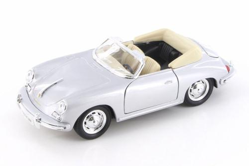 Porsche 356B Convertible, Silver w/ Black - Welly 29390WSV - 1/24 Scale Diecast Model Toy Car