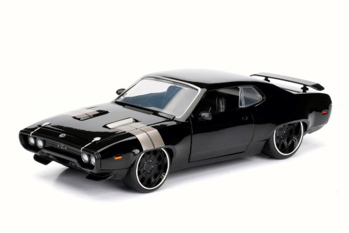 Dom's Plymouth GTX, Black - Jada 98292 - 1/24 Scale Diecast Model Toy Car