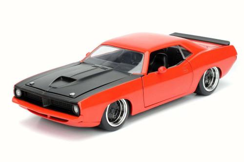 1973 Plymouth Barracuda, Orange - Jada 98244 - 1/24 Scale Diecast Model Toy Car