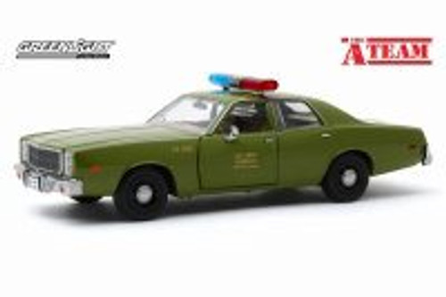 1977 Plymouth Fury, U.S. Army Police 'The A-Team' - Greenlight 84103 - 1/24 scale Diecast Model Toy Car